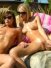 3 hot bikini babes get wet and fuck eachother at the pool in these hot 3some lesbian teen fuck movie and pics