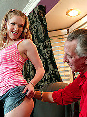 Cute blonde girl fucks dude that looks like pervert grandfather
