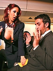 This flight attendant is taking to new heights while she rides a huge cock