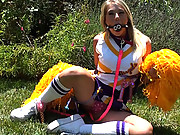 Blonde slut fucked on a sex swing after cheer practice!