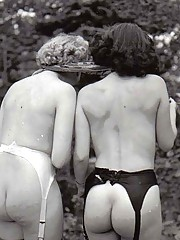 Several fifties ladies showing their round and sweet asses