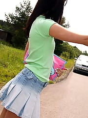Brunette teenager gets pounded hard on the side of the road