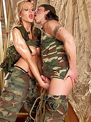 Horny soldier sticks his love gun in her big round booty