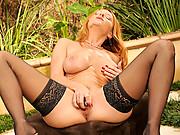 Gorgeous Janet Mason fucks her Anilos pussy outdoors