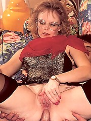 Seventies lady enjoys two dicks inside her
