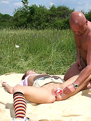 Brunette girl gets a facial while she sleeps