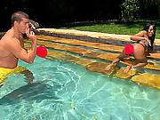 2 stacked hot ass booty babes get their wet bikini bodies fucked by a huge dong in these hot pool side fucking reality porn vids