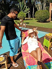 Super hot brazilian babe bathing by the pool gets picked up by the waiter in these hot pounding hard fucking pics and big movie