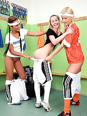 Sporty teenagers having fun in the showers