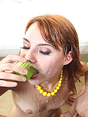 Busty slut gets drenched with face full of cum!
