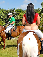 Watch 2 hot ass latina babes play a game of polo in skimpy outfits the get banged hard against their pickeup truck in these hot 4some outdoor cumfaced pics and big movie