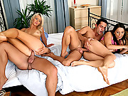 2 hoto blonde and brunette sex kittens get rammed hard in these hot 4some anal and pussy double cumshot fuck fest vids