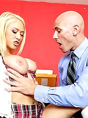 Naughty school girl gets spanked by principal