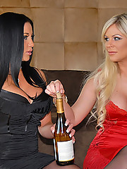 Super sophia santie and her lesbo babe come home after a day lingerie shopping to munch on their hot pussys in this big long lesbo movie and pics