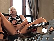 Hot blonde bound tight to the bed, machine fucked HARD until she cums