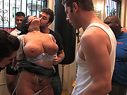 Claire Dames gets tied up and gang banged in public