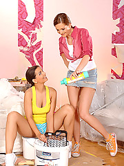 Lesbian babes Eve Angel & Sandra Shine painting & having sex