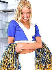 Hot horny cheerleader masturbates with dildo