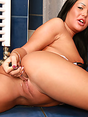 Sweetie masturbates in the shower with dildo