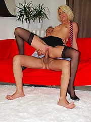 Willing blonde slut banged by a senior dude