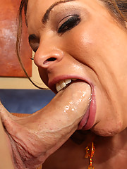 Horny bitch gets throat fucked after buying fuit!