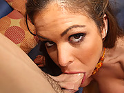 Nasty bitch gets her tonsils check by cock!