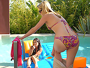 Beautiful hot lesbian bikini babes get hot and wet in the pool in these masternbating dildo fucking vids