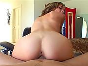 Brunette babe Julea London rides massive cock before receiving hot facial cum splatter