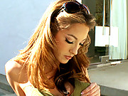 Jenna Haze fingers her own pussy and ass after stripping outdoors in her back yard