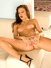 Aletta Ocean peels off her sexy dress and plays with her fine hot body