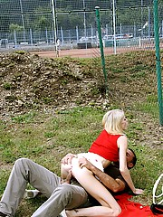 Young blonde girl getting fucked in several public places