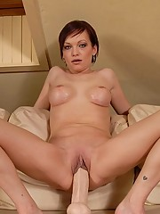 Tina riding white dildo