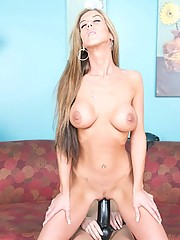 Sluts riding thick strap on dildo