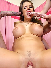 Busty brunette Nika getting her lovely face blasted with sticky cum