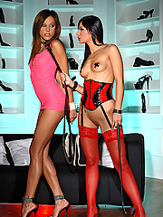 Slim dark chicks Angel & Anita get hot in bondage loving sex
