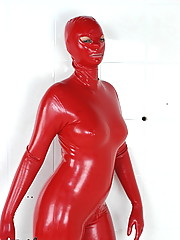 Crazyfetishpass rubber Ute in red rubber