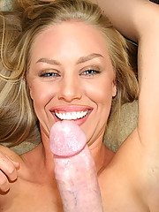 Nicole B play with her big sexy toy before sucking a huge cock