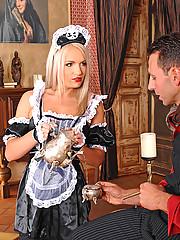 Blonde young babe Britney Spring gets spanked hard & cums
