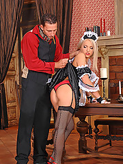 Blonde young babe Britney Spring gets spanked hard & cums