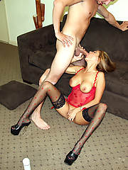 Rio jerking off a huge college cock while wearing sexy black stockings