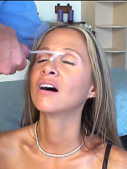 HotWifeRio takes a massive facial while wearing sexy black stockings