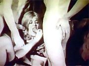 A horny vintage hippie threesome retro girl