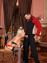 Blonde slut Britney Spring gets her pussy and ass fucked