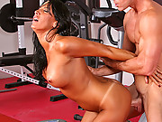 Lesley Zen in training with a hard cock in her