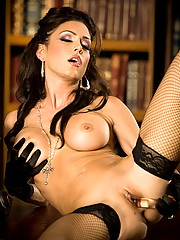 Jessica Jaymes fucks herself hard in the study