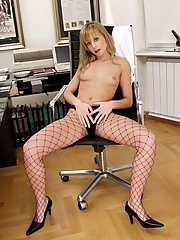 Carmen James strips naked in the office