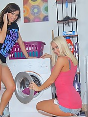 Super hot big tits teen lesbians fuck eachother on the washing machine in these steamy dildo fucking cum licking pics and big movie