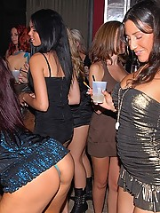 Check out three hot ass mini skirt babes get fucked and sucked in the champagne room of this after hour club