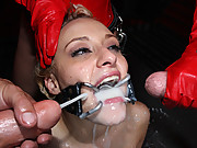 Hot cum whore gets tied down and fucked up!