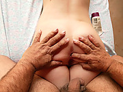 Older man massages young Jennifer's asshole!